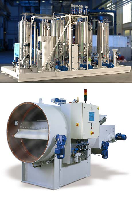 above: Regenerable Micro Filtration Plant; below: Pressure Belt Filter