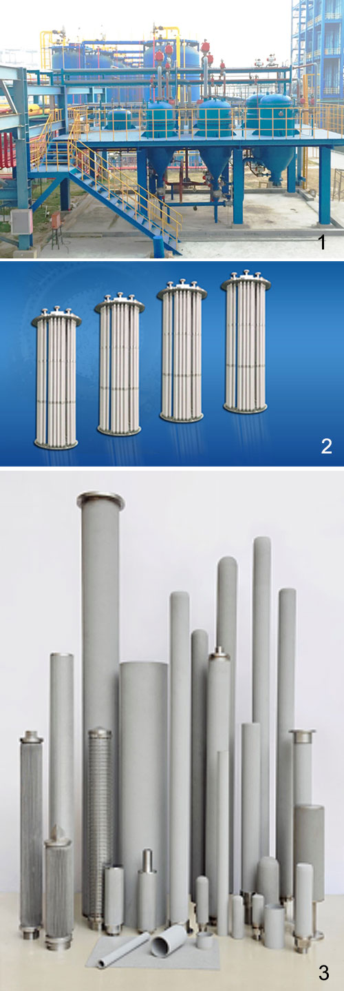 1) Filtration system  2) Hot gas filters  3) Sintered porous metal filters
